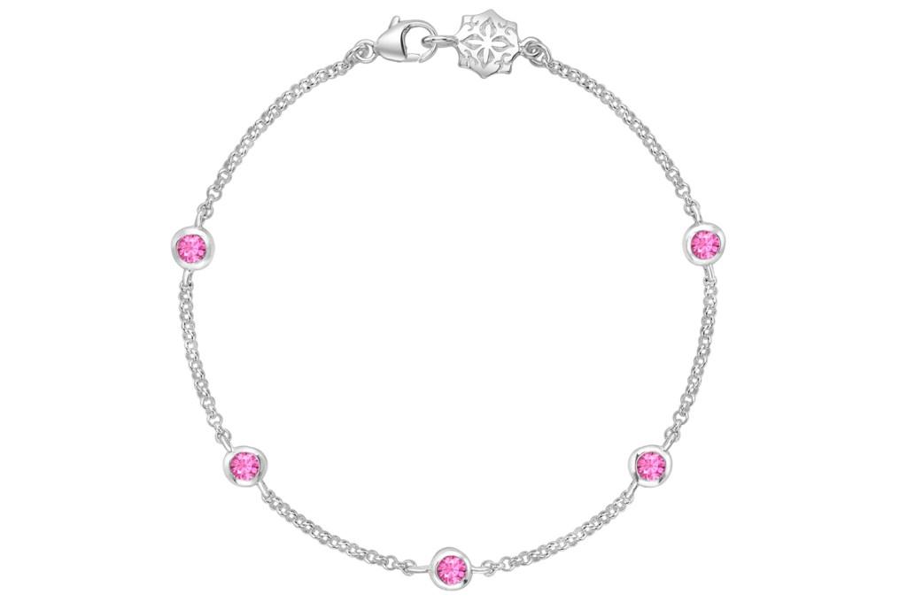 Sterling Silver Pink Sapphire Twinkle Chain Bracelet