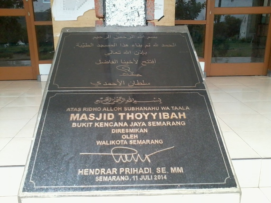 berikut foto Batu Peresmian oleh Walikota Semarang Hendrar Prihadi, SE, MM