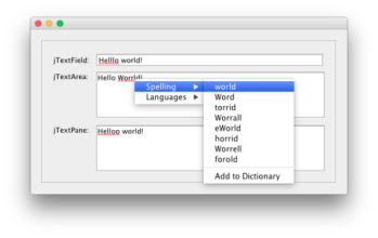 Java – How to add a spell checker to Swing GUI text components JOrtho Library  and Wikitionary Dictionaries