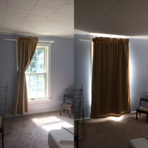 I made blackout curtains for the boys room, I haven't taken a photo since we cut the curtain rod, it looks much better now.