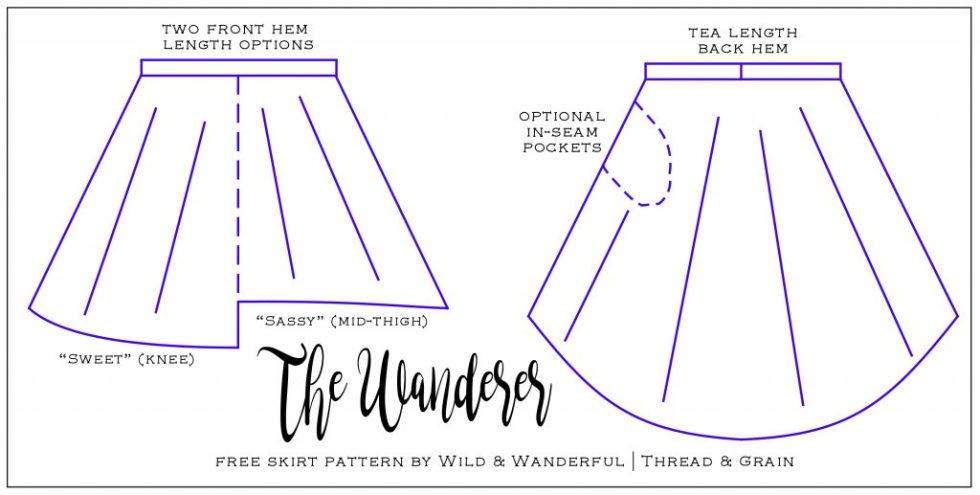 The Wanderer Skirt Free Womens High Low Skirt Pattern Threadgrain