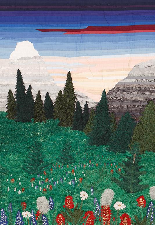 BC Wildflowers, thread painted art by Bridget OFlaherty