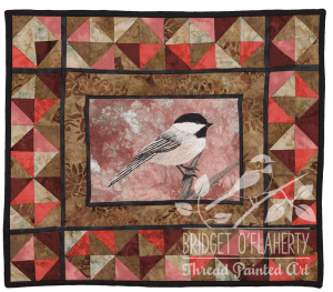 Black Capped Chickadee thread painting by Bridget O`Flaherty