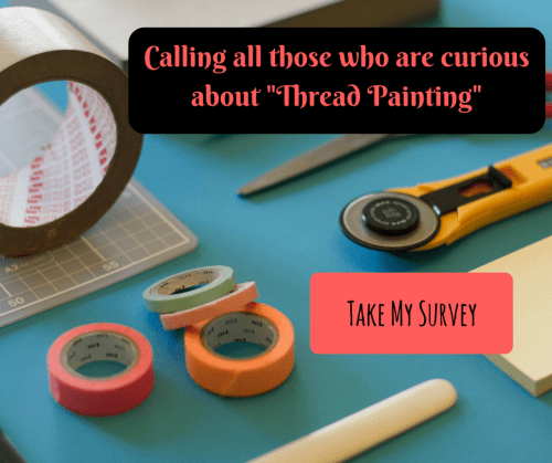 workshop, tape measure, cutting matt and ruler. text Can you help me with my survey for online workshops