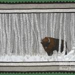 Manitoba: Wood Bison thread painted art by Bridget O'Flaherty