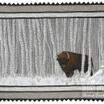 Manitoba: Wood Bison thread painted art by Bridget O'Flaherty