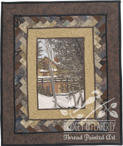 Winter Home thread painting by Bridget O'Flaherty