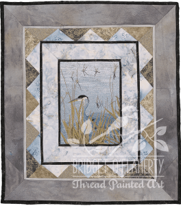 Blue Heron thread painting by Bridget O'Flaherty