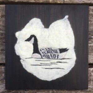 Canada Goose created with Felted Thread Art and mounted on a pine board by Bridget O'Flaherty