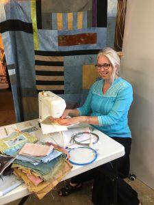 Bridget O'Flaherty sewing