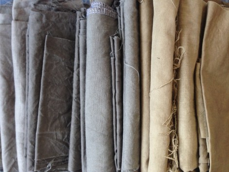 natural tones of hand dyed cottons