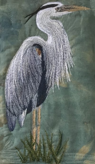 Great Blue Heron free motion embroidery pattern sample