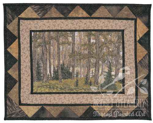 Misty Forest thread painted art by Bridget O'Flaherty