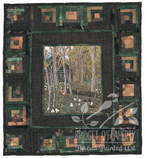 Trilliums and a Log Cabin thread painted art by Bridget O'Flaherty