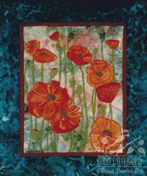 Poppies thread painting by Bridget O`Flaherty