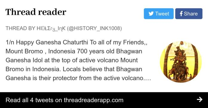Thread By History Ink1008 1 N Happy Ganesha Chaturthi To All Of My Friends Mount Bromo Indonesia 700 Years Old Bhagwan Ganesha Idol At The Top Of Active Volcano M