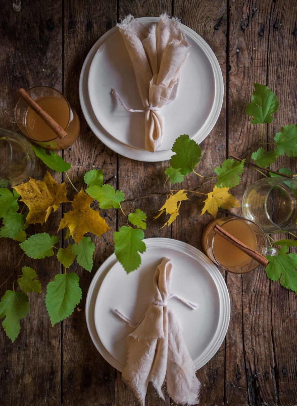Leaf Dyed Linen Napkins made using Homemade Plant Dyes