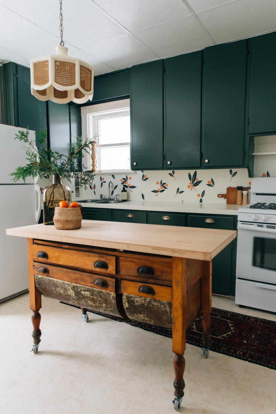 Dark Green Kitchen Cupboard - Vintage Inspired Kitchen - Green Kitchen - Urban Walls Decals