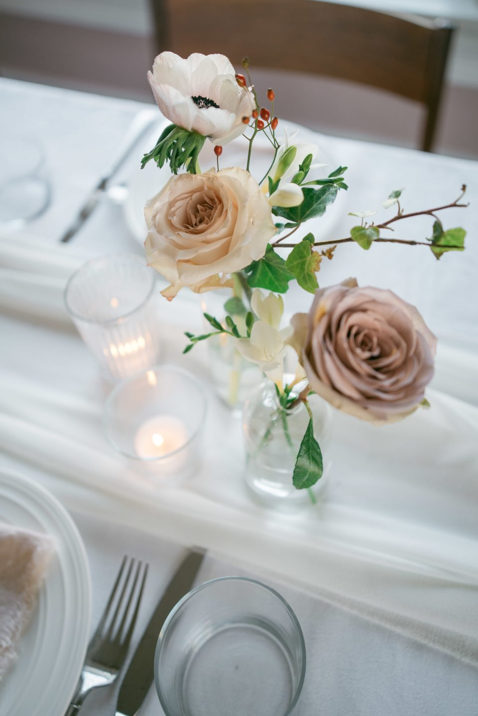Centrepieces for Rectangular Tables | Wedding Centrepieces | Bud Vases