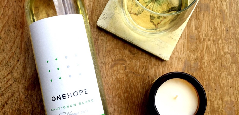 Flat Lay of Sauvignon Blanc One Hope Wine Bottle