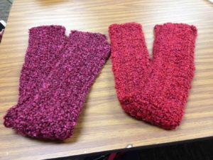 """2 scarves received from the """"Threads of Compassion Infinity Scarf - Buy One, Give One"""" program offered on Etsy."""