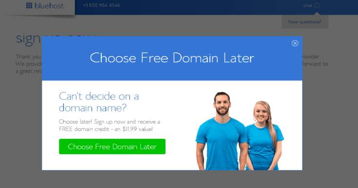 How to start a blog Bluehost choose domain later