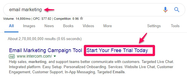 start your free trial AdWords keyword