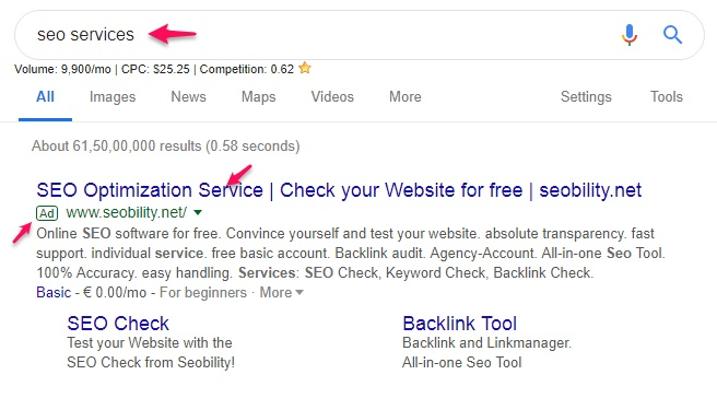 Google Adwords ad displaying in Serp