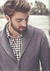 Buffalo check shirt and shawl collar cardigan