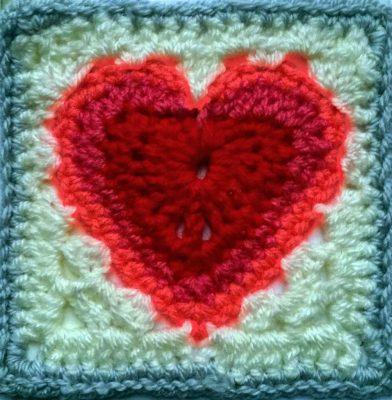 Heart Granny Square, Valentine granny square, Galentines day