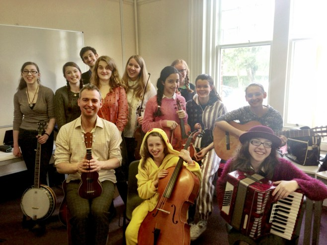 Highworth Grammar School folk band performed 'Manchester Rambler' and 'Three Acres And A Cow' with Robin at Ashford show