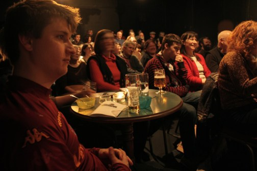 The wonderful Walthamstow audience, over 150 people came and most of them managed to fit in somehow.