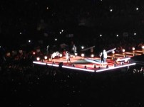 The stage had a long runway with a small stage at the end. Harry, Liam, Zayn, Niall and Louis all made use of this space to sing and dance around all awkwardly cute like they do. This was taken during Midnight Memories, the first song on their set list.