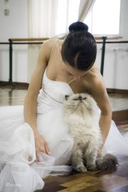 ballet dancer with cat