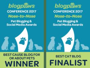 BlogPaws Nose-2-Nose Winner & Finalist 2017