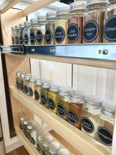 organized spice rack with labeled spice jars