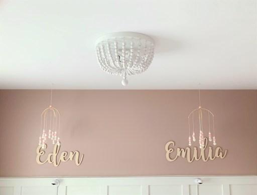 white wood bead semi-flush chandelier ceiling light