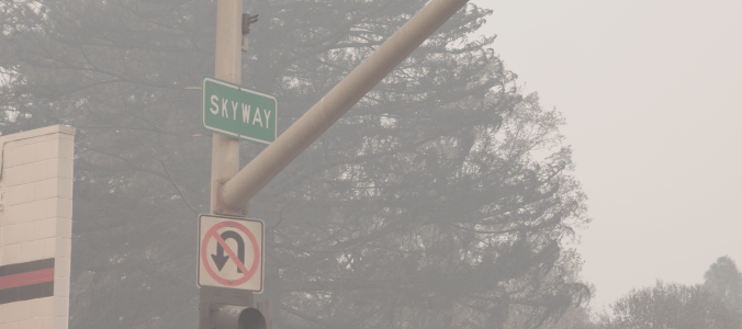 The Corner of Skyway and Pearson a week after the Camp Fire burned through Paradise, CA.