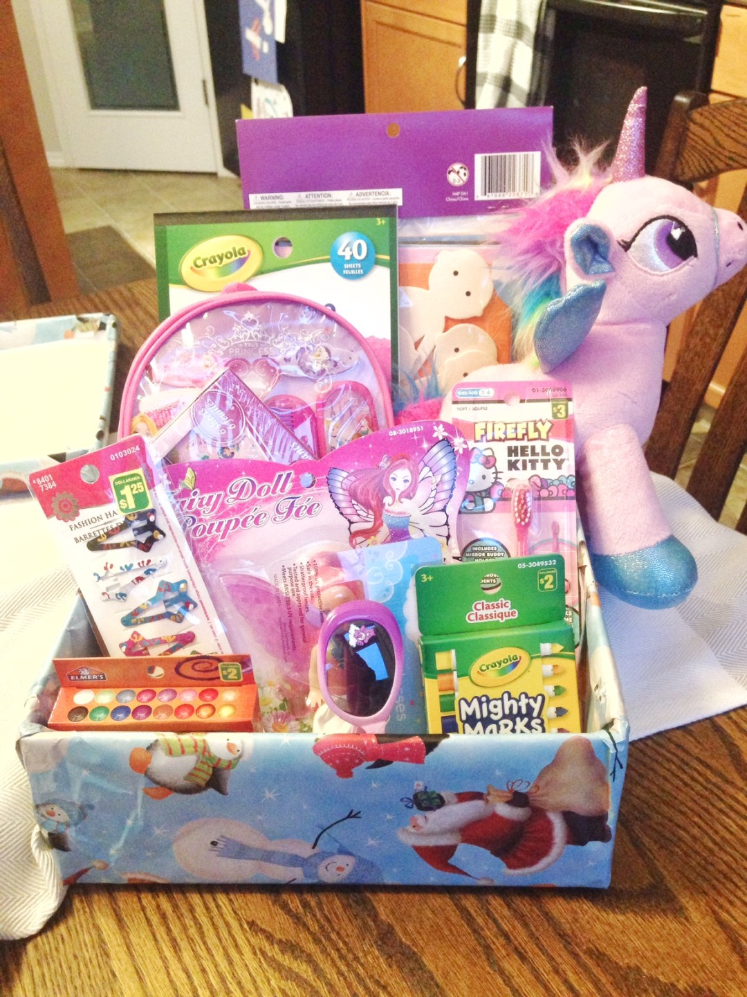 A box of goodies for a special little girl somewhere