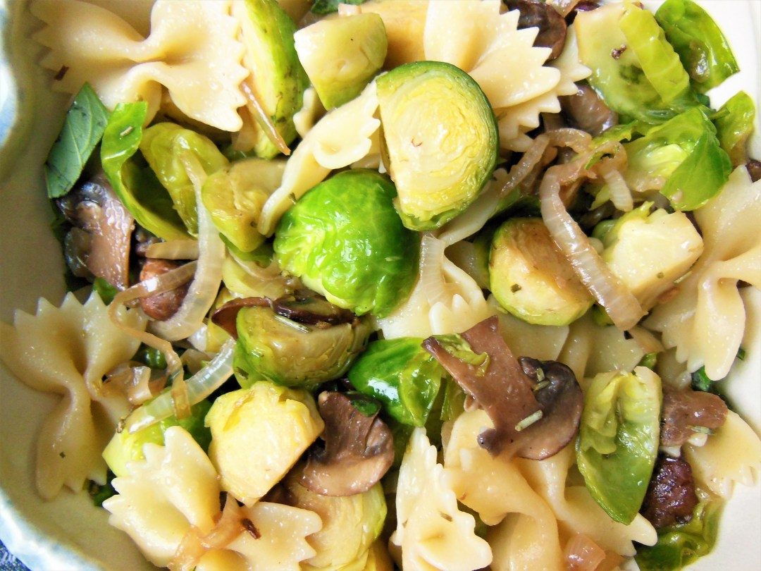 Brussels Sprouts and Basil Bowtie Pasta Salad