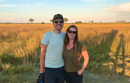 Us on the Okavango Delta sunset game walk