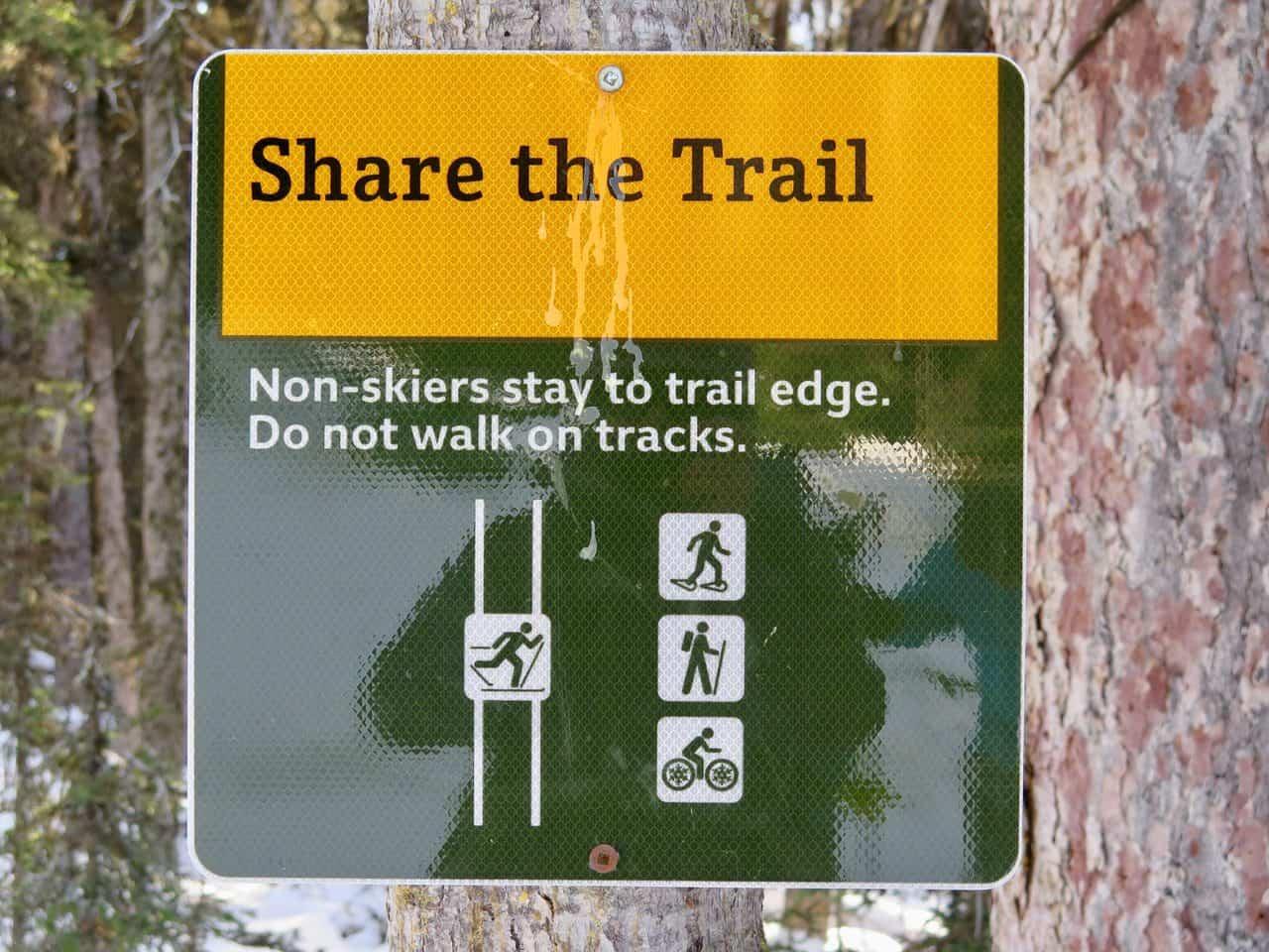 snowshoe trail etiquette sign
