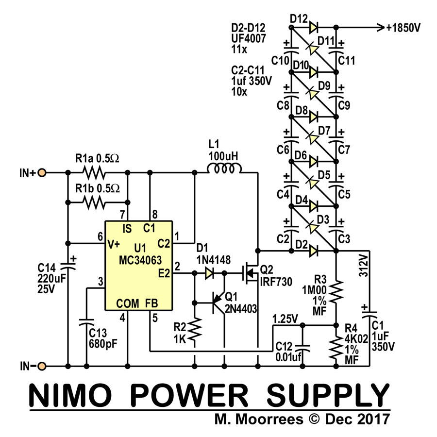 Roughly 1 1v below is the hv power supply circuit its a basic mc34063 design with 6x multplication to output 1800v click on drawing to enlarge