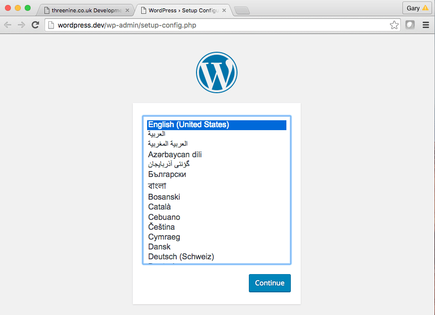 WordPress Select language