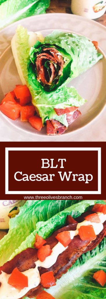 A low-carb spin on a classic sandwich. These BLT Caesar Wraps are easy to make and a perfect healthy snack or lunch. | Three Olives Branch