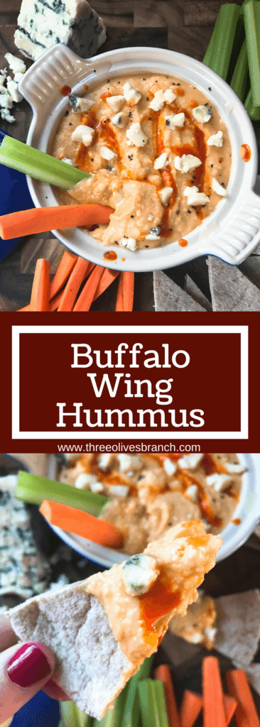 Less than 10 minutes, this hummus is a great healthy snack or appetizer for your big game! Fast and easy to make, full of protein. A simple dish to make in advance. Vegetarian, vegan friendly, perfect for football and Super Bowl parties. Buffalo Wing Hummus | Three Olives Branch | www.threeolivesbranch.com