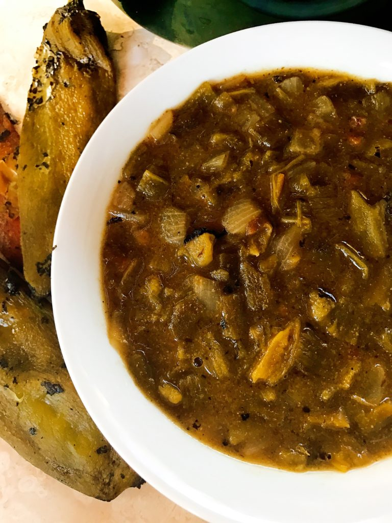 A vegetarian twist on a classic fall dish! Perfect for football season. Fresh Hatch peppers are best for this green chili but you can use the canned version as well.