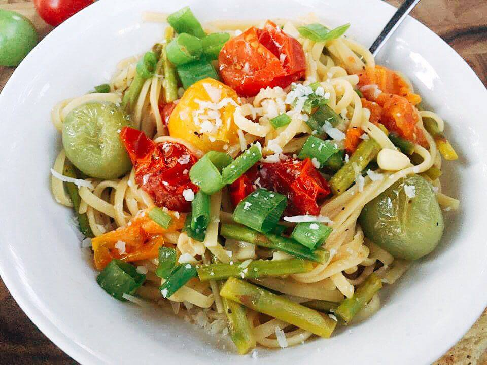 Loaded with veggies, this pasta is a great way to get your carb fix while packed with vegetables. A light white wine sauce makes this pasta perfect for any season or occasion.