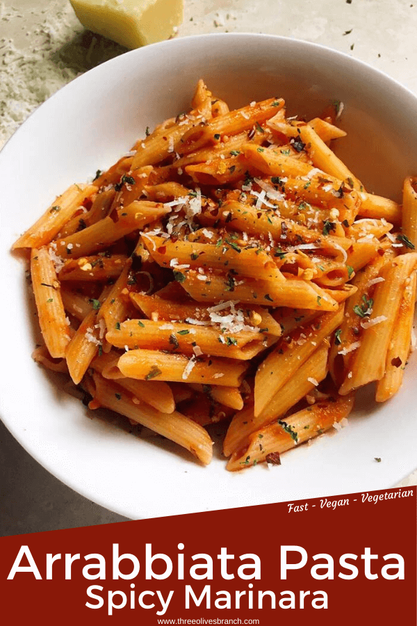 Arrabbiata Pasta, or Spicy Pasta, is a very simple pantry pasta recipe. Pasta is cooked in a tomato sauce made with garlic and red pepper. Add your favorite vegetables or meat if desired. Traditionally topped with Parmesan cheese. Vegetarian and vegan. #Italianpasta #pastarecipes #pantryrecipes