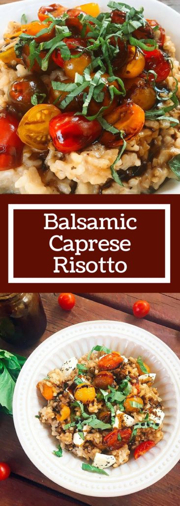 Balsamic Caprese Risotto is a unique twist on a classic Italian comfort food recipe. The gooey mozzarella is cut by the acidity of the balsamic vinegar, brightened up with fresh basil and fresh cherry tomatoes. All on a creamy vegetarian Parmesan cheese risotto. A house favorite! #italian #risotto #caprese